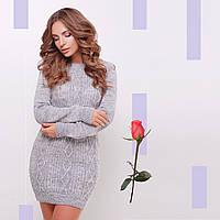 Короткое Вязаное платье-туника  Gl  77143  Светло-серый