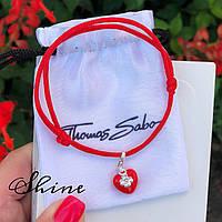 Красная нить-талисман с подвеской Thomas Sabo Сердце красное