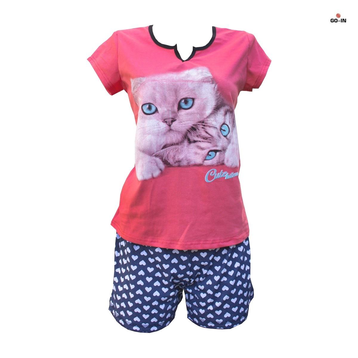 Жіноча піжама шорти і футболка з котиком 52-54 р. кулір
