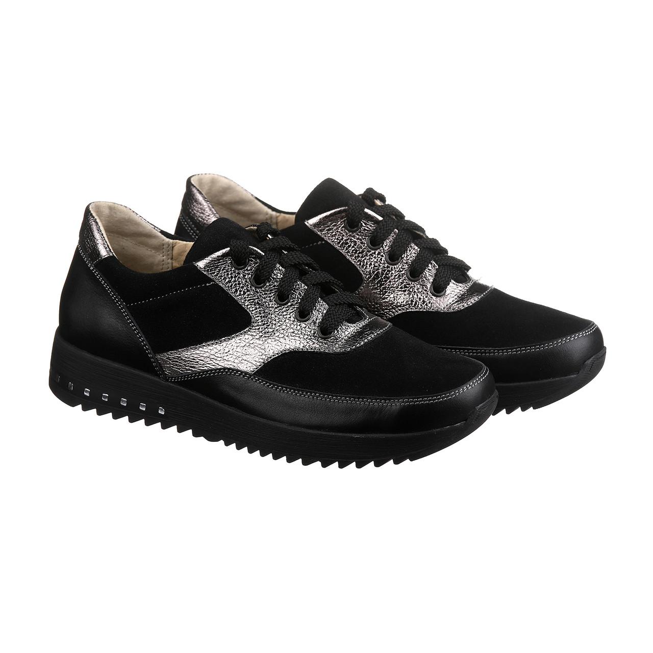 Женские кроссовки черного цвета в комбинации с серебром размеры 37-41