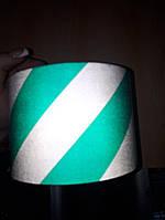 Светоотражающая лента самоклейка 10 см,лента полоска. Габариты.Авто,бело-зеленая