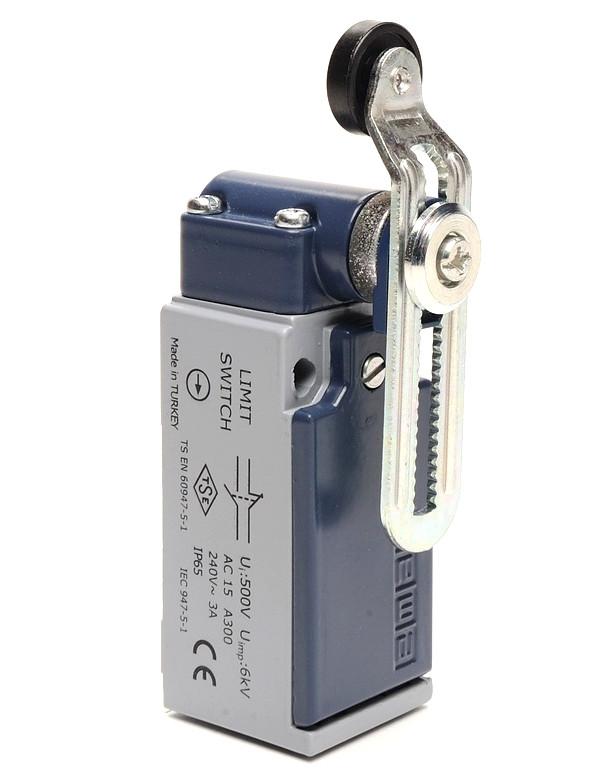 Вимикач кінцевий з пласт. роликом d=18mm з коротким зігнутим важелем і можливістю регулювання (1НО+1НЗ)