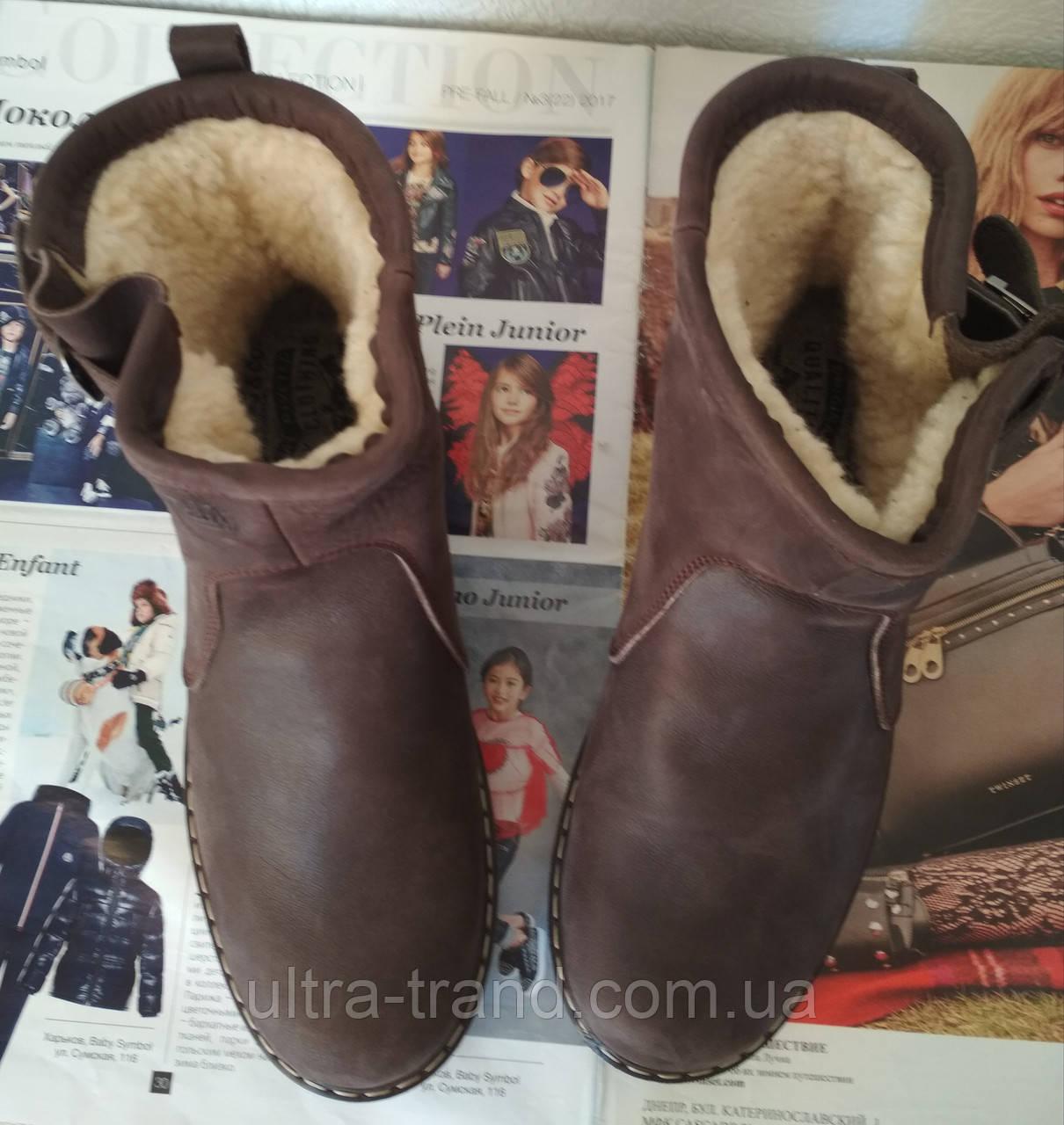 Levis! Зимние женские кожаные Levi's Угги коричневые больших размеров