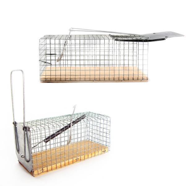 Крысоловка-клетка с деревянной основой, 2 штуки