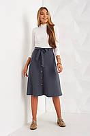 Офисная графитовая юбка с пуговицами по всей длине