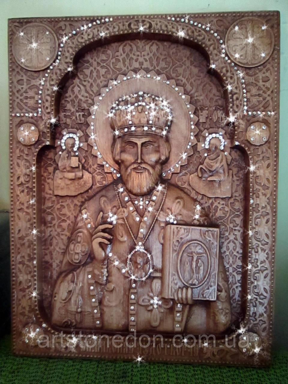 Икона Николая Чудотворца с камнями
