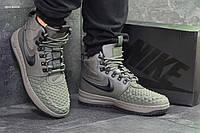 Мужские кроссовки в стиле Nike Lunar Force 1 Duckboot  темно зеленые