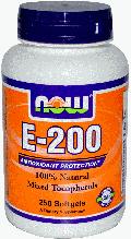 Vitamin Е (смесь токоферолов)  Now Foods Vitamin E-200 IU Mixed Tocopherols 100 Softgels