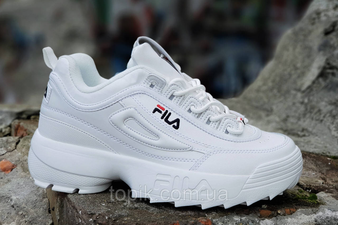 Кроссовки хайповые на платформе FILA реплика, женские, подростковые белые кожаный носок (Код: 1236)