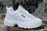 Кроссовки хайповые на платформе FILA реплика, женские, подростковые белые кожаный носок (Код: 1236), фото 1