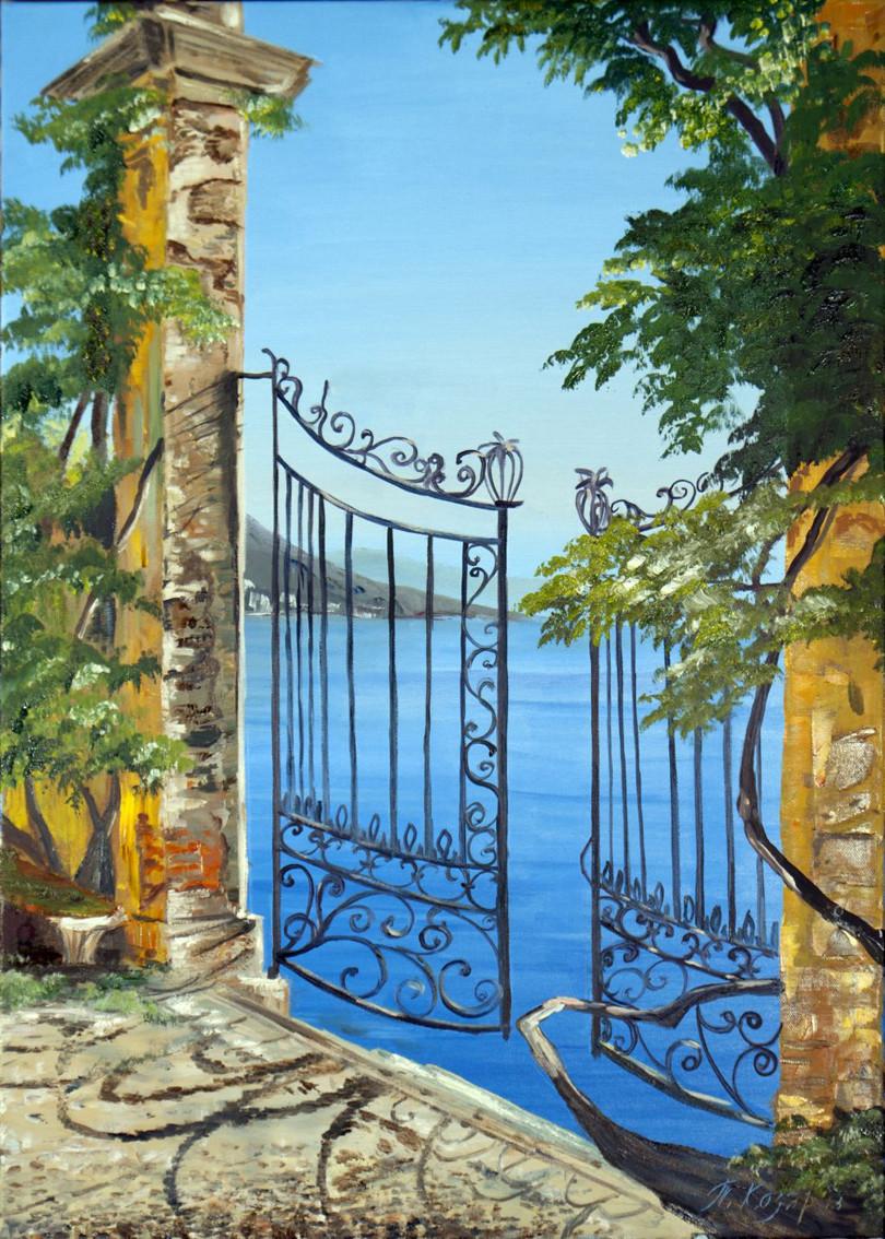 Ворота в море холст 70х50 картина масло