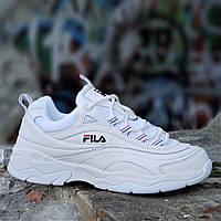 Кроссовки хайповые на платформе FILA реплика, женские, подростковые белые кожаные молодежные (Код: 1238), фото 1