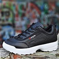 Кроссовки хайповые на платформе в стиле FILA реплика, женские, подростковые черные молодежные (Код: 1239), фото 1