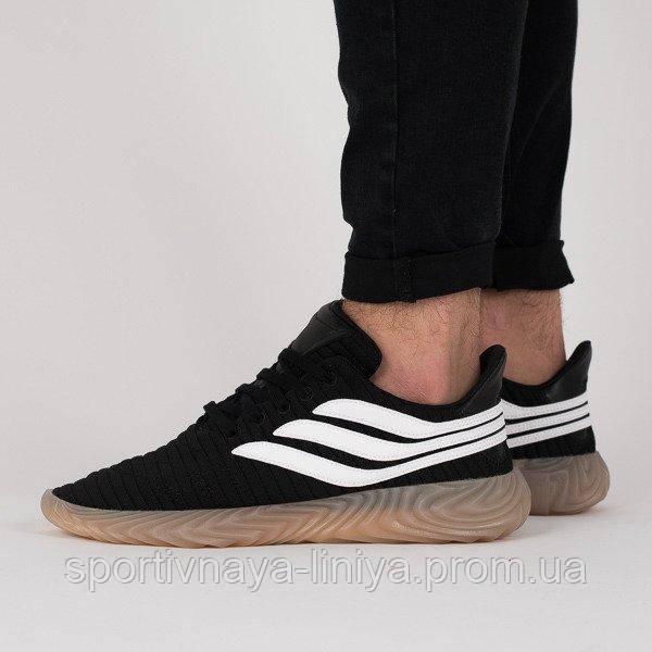 Кроссовки мужские черные Adidas Sobakov Black White (реплика)