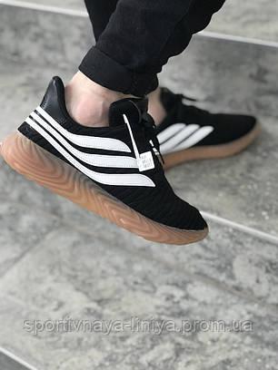 Кроссовки мужские черные Adidas Sobakov Black White (реплика), фото 2