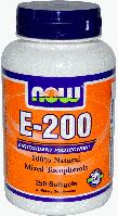 Vitamin Е, смесь токоферолов, Now Foods, Vitamin E-200 IU, Mixed Tocopherols 100 Softgels