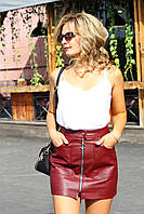 Короткая кожаная юбка марсала, фото 1