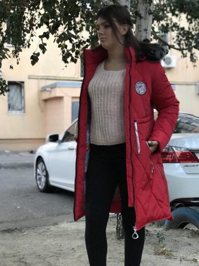 Зимнее женское подростковое пальто  красный