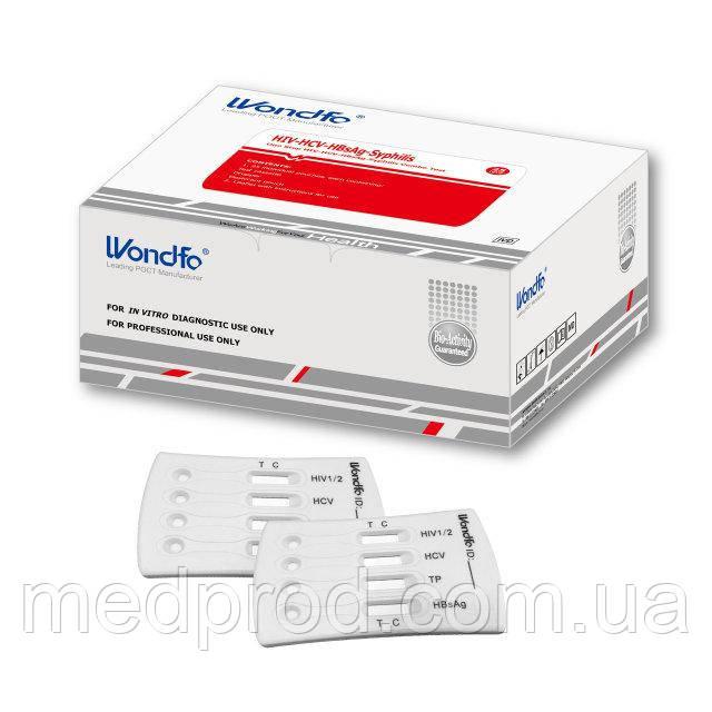 Тест на 4 вида инфекции ВИЧ 1/2, гепатит С, В, сифилис по крови, быстрый мультитест