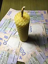 Свеча денежная с пятаком на 1 час из вощины.