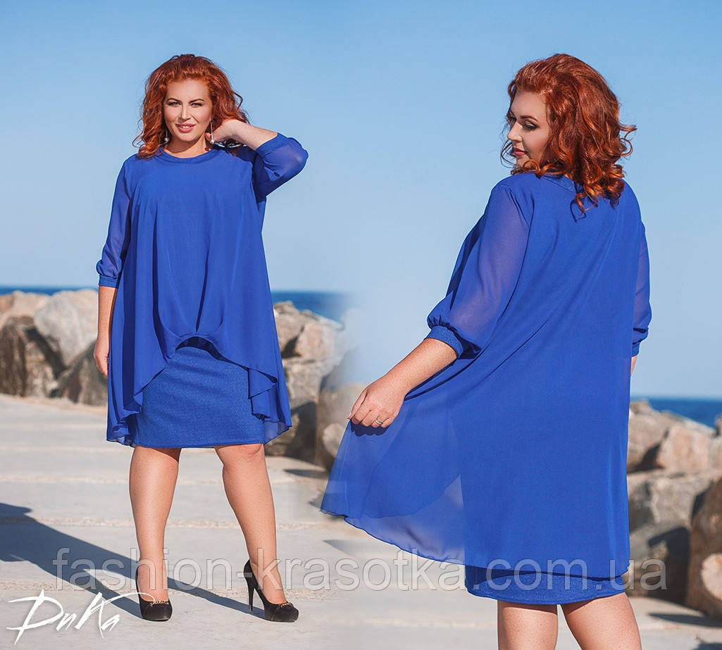 Шикарное нарядное платье дубаи+шифон в размерах 50-56