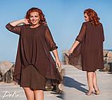 Шикарное нарядное платье дубаи+шифон в размерах 50-56, фото 3