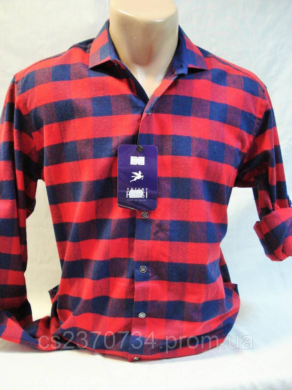 Рубашка мужская байковая в красно-синюю клетку Antoni Rossi (M-44,L-46,XL-48,3XL-52).
