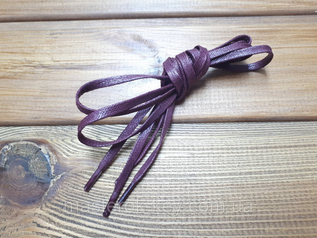 Шнурки обувные плоские с пропиткой 100см цвет бордовый (2.5)
