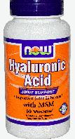 Гиалуроновая кислота, Now Foods, Hyaluronic Acid with MSM, 60 Caps