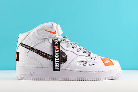 "Кроссовки Nike Air Force 1 Mid Just Do It ""White Pack"" (Белые), фото 2"