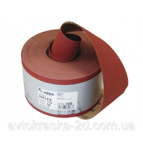 Наждачний папір у рулоні Mirka Hiflex P120 (червона) 115мм. х 50м.