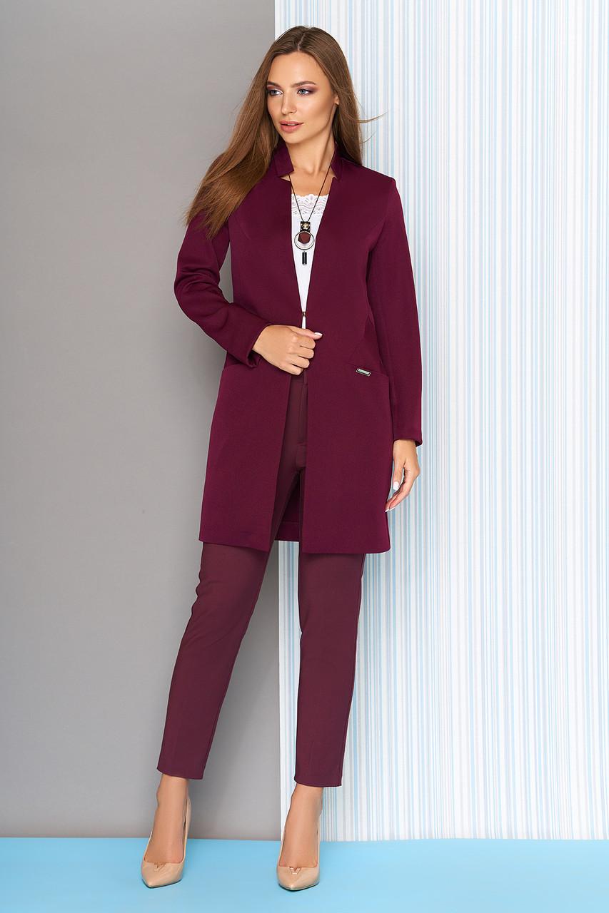 Пиджак удлиненный с воротником-стойкой бордо
