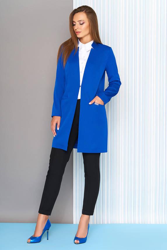 Пиджак удлиненный с воротником-стойкой электрик, фото 2