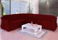 Чехол на большой угловой диван XXXL и кресло, цвет бордо