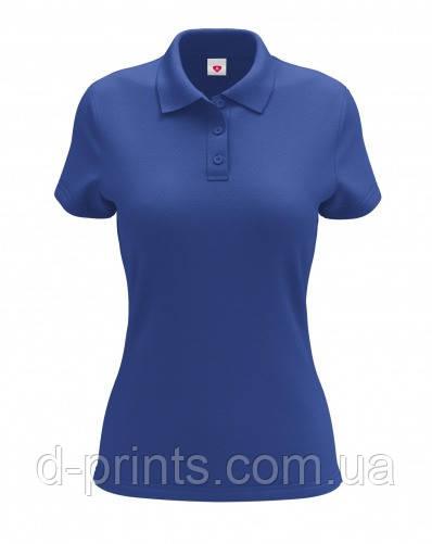 Футболка женская поло синяя