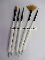 Набор кистей для росписи ногтей 2 в 1(кисть+дотс) 5 штук в наборе