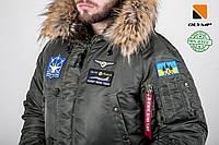 Мужская зимняя парка куртка аляска Olymp c нашивками патчами - аляска N-3B