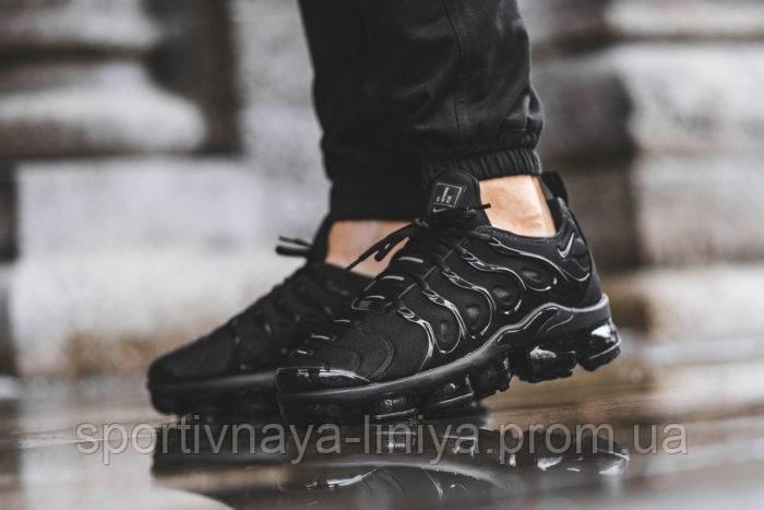 Кроссовки мужские черные Nike Air VaporMax Plus Triple Black (реплика)