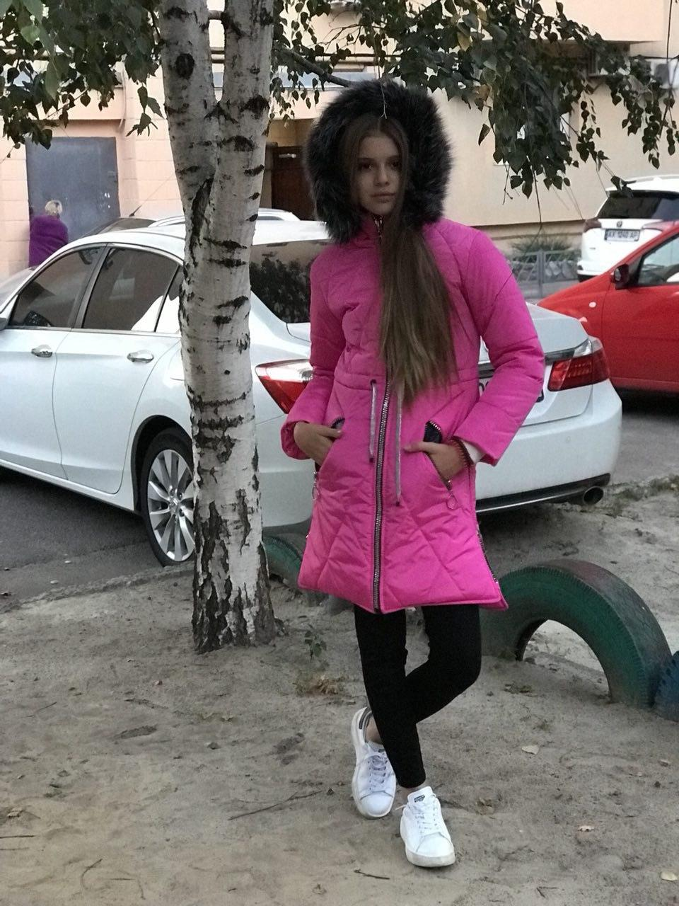 Зимнее женское подростковое пальто  малиновый