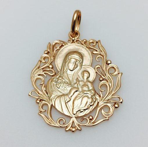 Ладанка Божья матерь с младенцем ажурная, ювелирная бижутерия