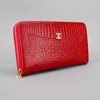 Кошелек кожаный женский на молнии красный Chanel 9046