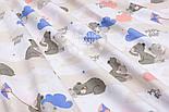 """Ткань хлопковая """"Серые спящие мишки с розовыми и голубыми облаками"""" (№1544а), фото 4"""