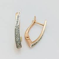 Женские серьги, сережки  Fallon Плавный изгиб позолота 18К