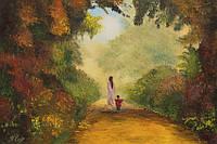Прогулка в осень холст 70х50 картина масло