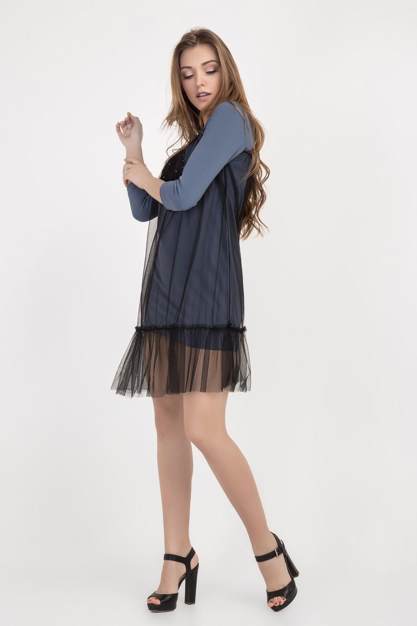 Демисезонное женское платье с фатином размеры 42-44, 44-46, 46-48