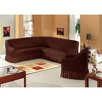 Чехол на большой угловой диван XXXL и кресло, цвет шоколадный