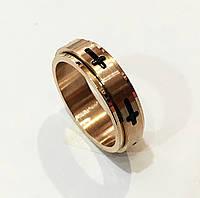 Женское кольцо с крестом центр крутится по кругу, размер 18, 19, 20, 21, 22