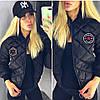 Куртка женская стеганая весна-осень Fashion (42/44, 44/46) (цвет черный) СП