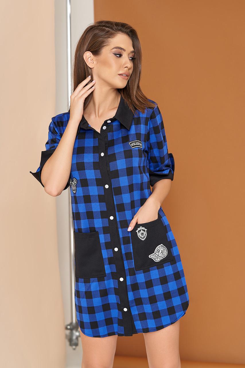 Красивое платье рубашка мини сбоку разрезы прямое рукав до локтя с манжетам клетка электрик