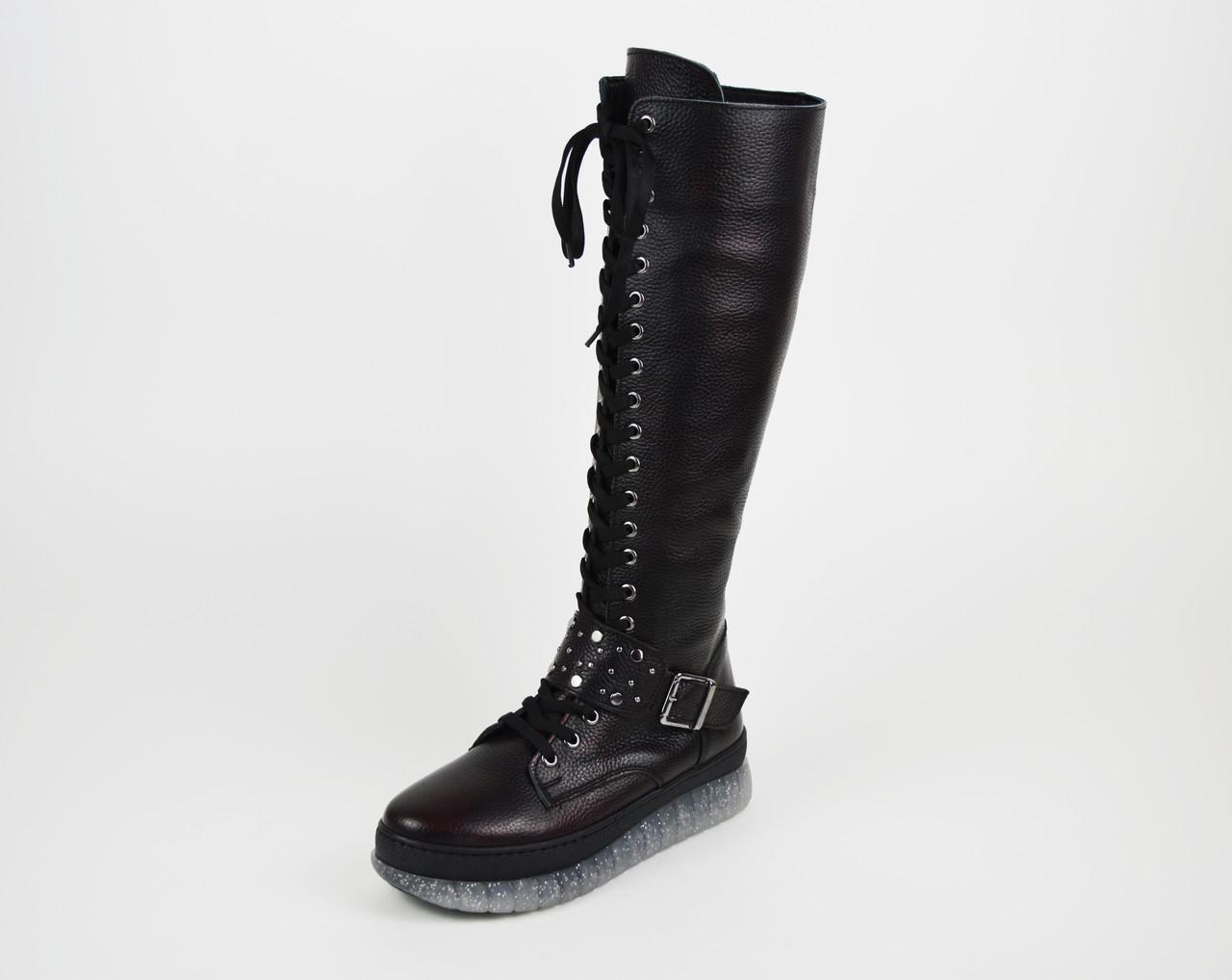 Зимние черно-бордовые сапоги шнуровка Donna Style